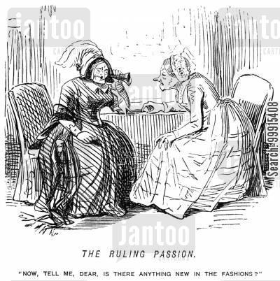victorian fashion cartoon humor: Old woman wanting to keep up with fashion