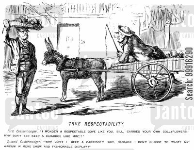 showing off cartoon humor: Costermonger on foot acuses costermonger with a cart of 'fashionable display' for keeping a 'carriage'