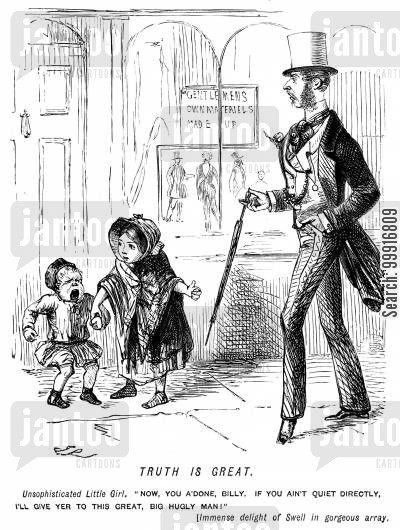 bad behaviour cartoon humor: Girl warns little boy that she will give him to a 'great, big ugly man', refering to a fashionably dressed swell passing by