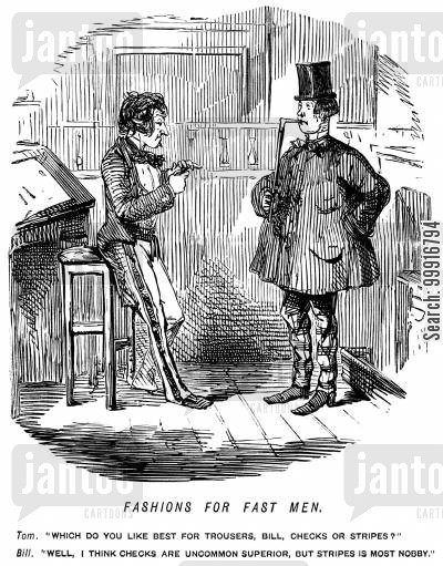tailoring cartoon humor: Fashionable men discussing whether stripes or checks is the best pattern for trousers