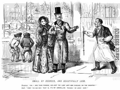 victorian fashion cartoon humor: Shopkeeper thinks a fashionable man's delicate umbrella is a lady's parasol.