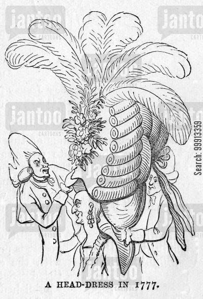 hair style cartoon humor: A Head-Dress in 1777