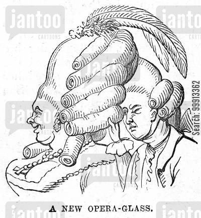 hair style cartoon humor: A new opera-glass for the year 1777