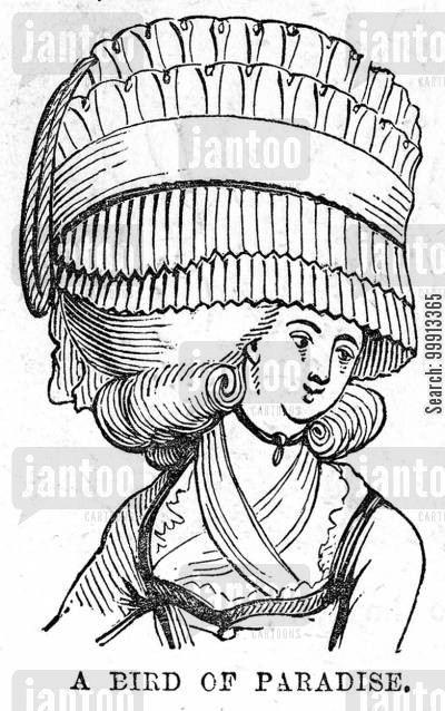 display cartoon humor: 'A Bird of Paridise' - A head-dress in 1780
