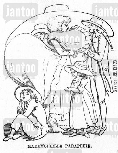 bust cartoon humor: Family sheltering beneath a woman's hat and the protruding bust and rear of her dress