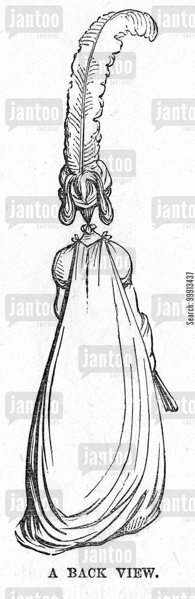 plume cartoon humor: A rear view of a fashionably dressed lady in 1796