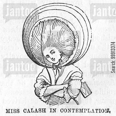 opulence cartoon humor: Lady in 'calash' head-dress, 1780