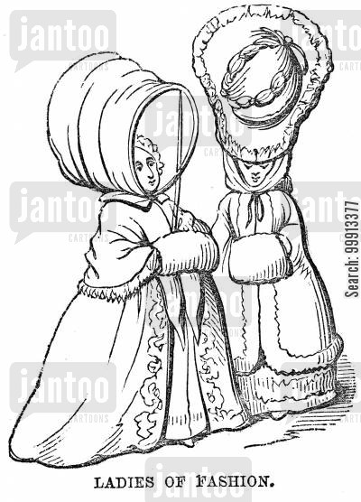 ladies of fashion cartoon humor: Ladies in fashionable head-dress, 1783
