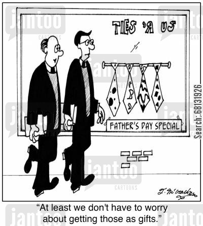 dog collar cartoon humor: 'At least we don't have to worry about getting those as gifts.'