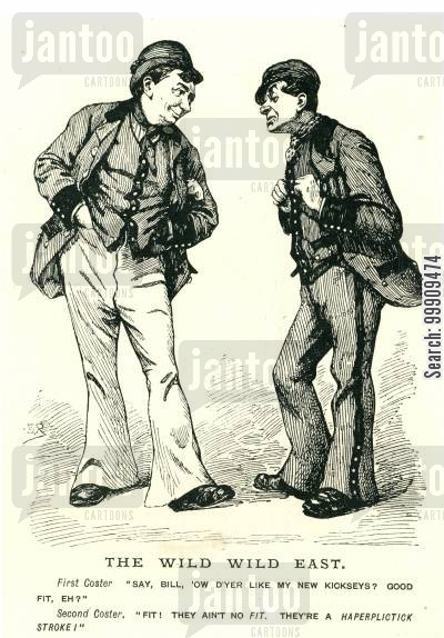 fashion cartoon humor: Two Men Discussing Fashion.