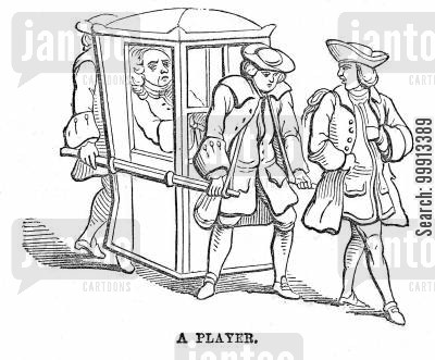 gaming cartoon humor: 'A player' carried in his sedan chair, preceded by his footman