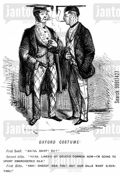 linen cartoon humor: Oxford costume