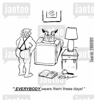 fashion statement cartoon humor: 'Everybody wears them these days!'