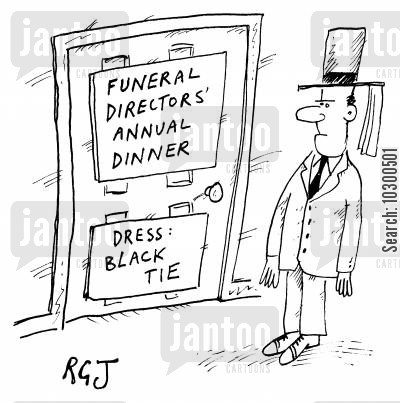annual dinners cartoon humor: 'Funeral Directors Annual Dinner: Black Tie'