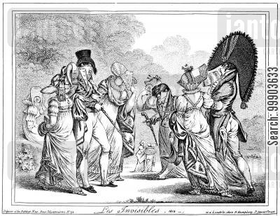 french first empire cartoon humor: Satire of French 'Empire' Fashions