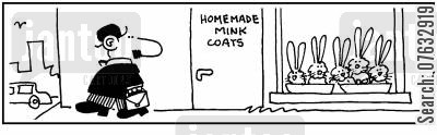 minks cartoon humor: Homemade Mink Coats.