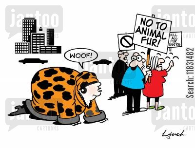 fur sales cartoon humor: No to Animal Fur.