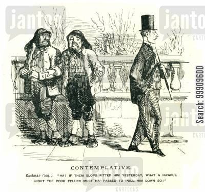 slops cartoon humor: Two Dustmen Comment on a Gentleman's Clothing.