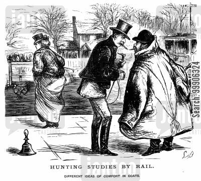hunter cartoon humor: Two gentlemen wearing unsuitably sized coats.