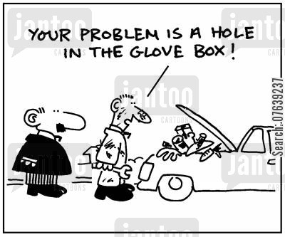 glove box cartoon humor: 'Your problem is a hole in the glove box.'