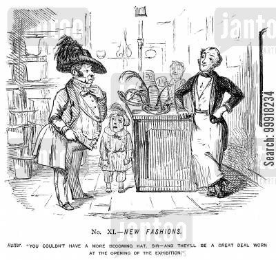 industrial revolution cartoon humor: Memorials of The Great Exhibition - 1851. No. XI. - New fashions.