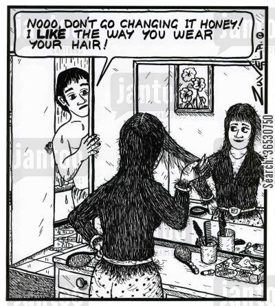 groomed cartoon humor: 'Nooo, don't go changing it honey! I LIKE the way you wear your hair!'