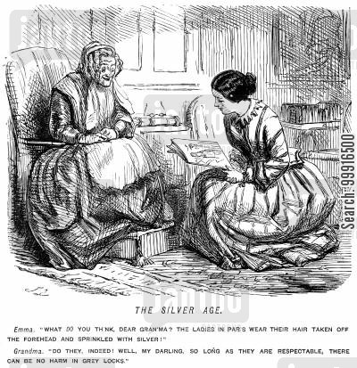 victorian fashion cartoon humor: girl asking her grey haired grandma about Parisian hair styles