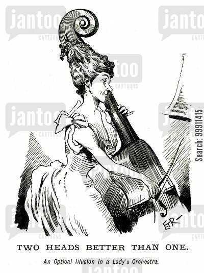 illusion cartoon humor: An Optical Illusion in a Lady's Orchestra