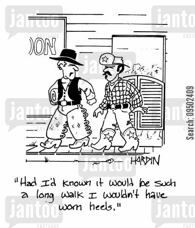 high heels cartoon humor: 'Had I'd known it would be such a long walk I wouldn't have worn heels.'