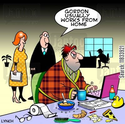 pj cartoon humor: Gordon usually works from home.
