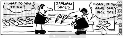 italian shoes cartoon humor: Italian Shoes.