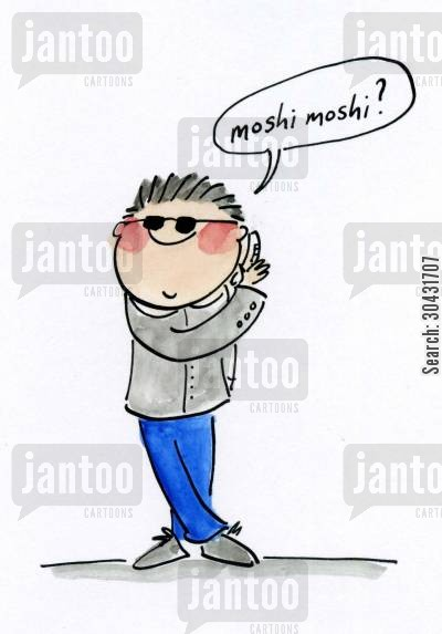 nagoya cartoon humor: Moshi Moshi?
