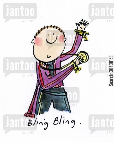 hoxton cartoon humor: Bling Bling.