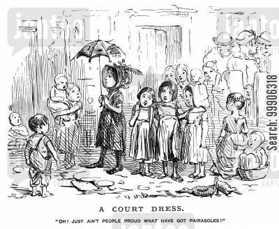poor child cartoon humor: Some poor children glaring at a well-off child with an umbrella