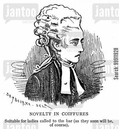 woman barrister cartoon humor: Coiffures suitable for lady barristers