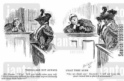 witness box cartoon humor: Judge asking witness to remeve veil