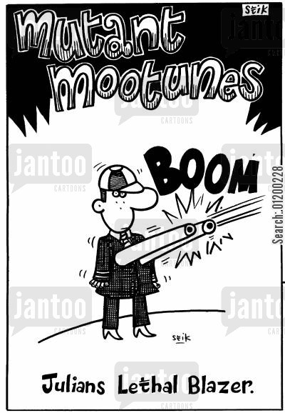 lethal cartoon humor: Mutant Mootunes - Julian's lethal blazer