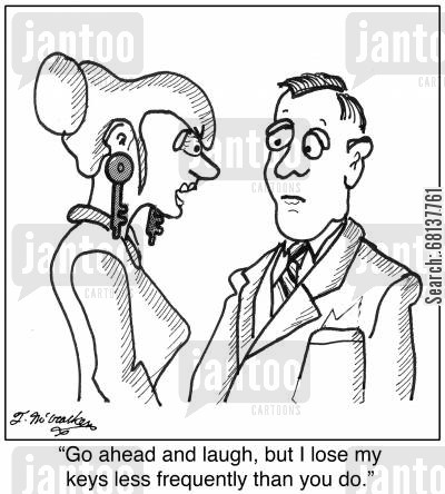 earrings cartoon humor: 'Go ahead and laugh, but I lose my keys less frequently than you do.'