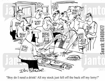 misplacement cartoon humor: Boy do I need a drink! All my stock just fell off the back of my lorry!