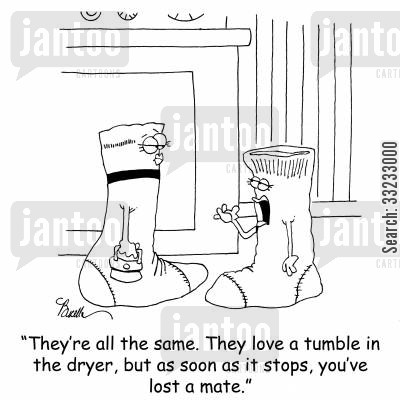 clothes dryer cartoon humor: 'They're all the same. They love a tumble in the dryer, but as soon as it stops, you've lost a mate.'
