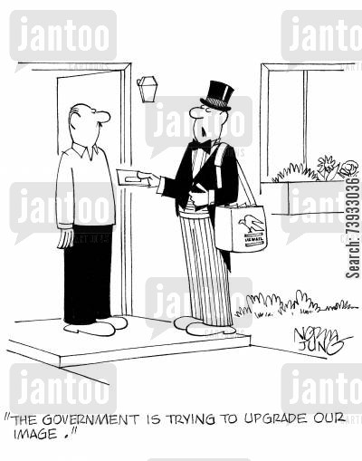 dinner jacket cartoon humor: 'The government is trying to upgrade our image.'