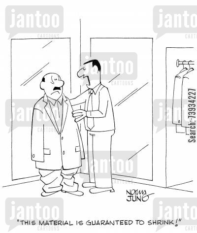 clothes shops cartoon humor: 'This material is guaranteed to shrink'