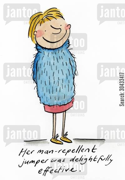 repellent cartoon humor: Her man-repellent jumper was delightfully effective.