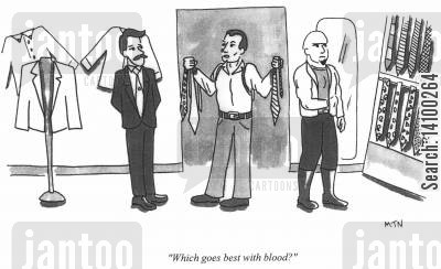 menswear cartoon humor: Which goes best with blood?