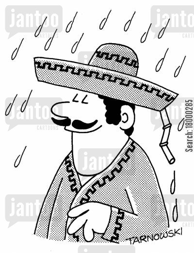 drainage cartoon humor: Drainpipe in a sombrero.