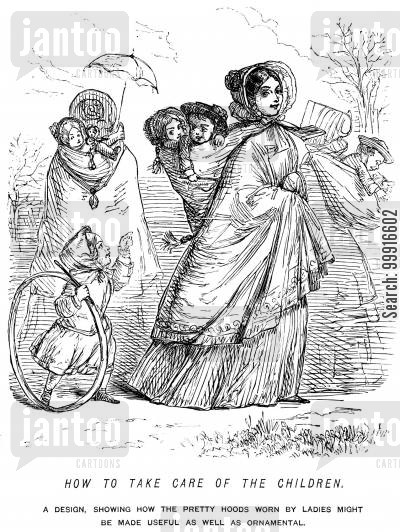 care cartoon humor: A design, showing how the pretty hoods worn by ladies might be made useful as well as ornamental.