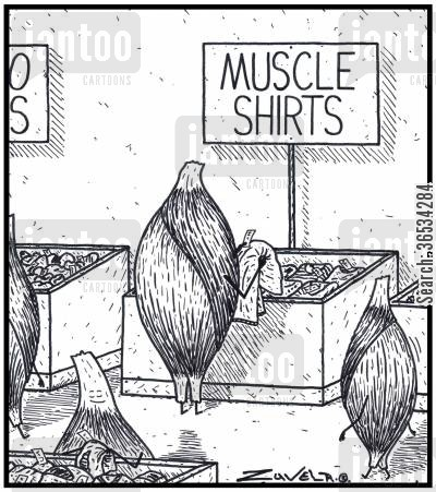 clothes shop cartoon humor: A Muscle checking out some shirts made for Muscles
