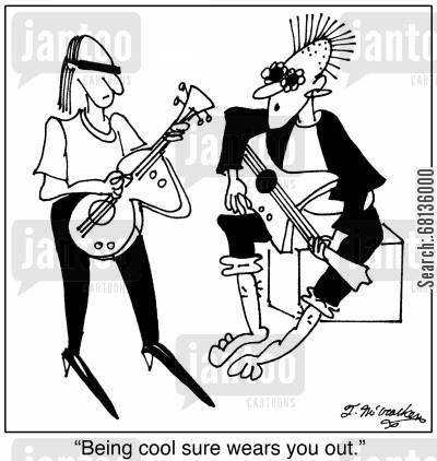 coolness cartoon humor:  'Being cool sure wears you out.'