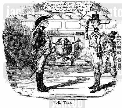 royal navy cartoon humor: 'Tell Tale' - The Drawbacks of Over-Tight Ponytails