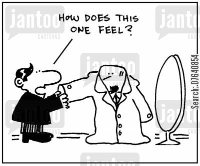 overcoats cartoon humor: 'How does this one feel?'